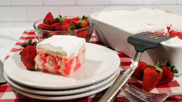 Strawberry Cheesecake Poke Cake